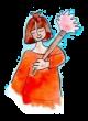 Merveilleuse femme à robe orange et plumeau